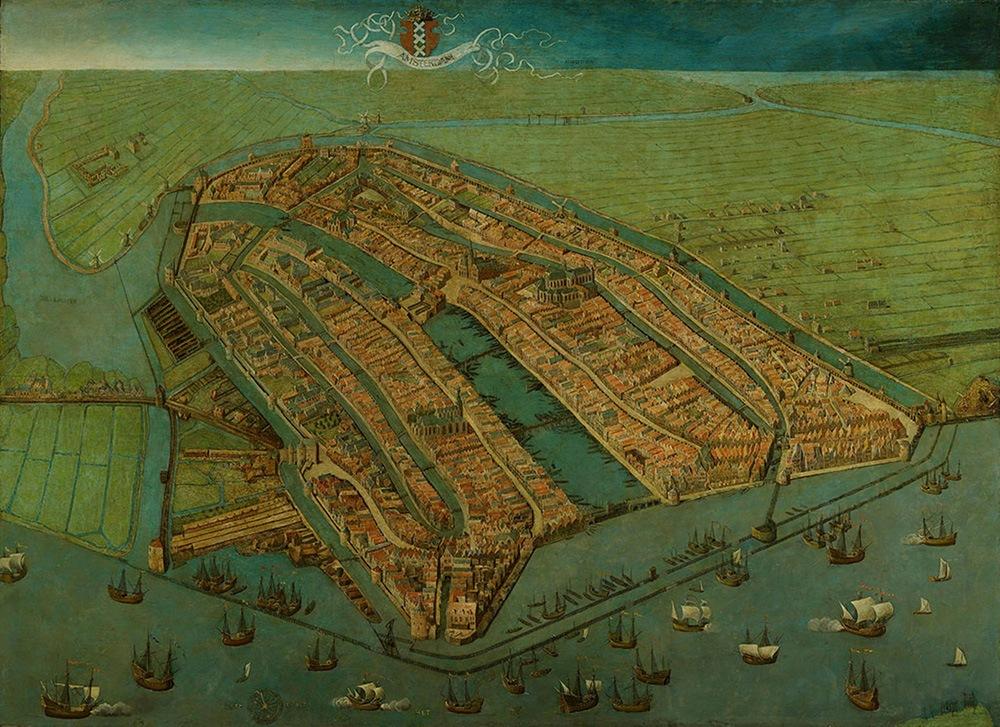 Amsterdam in 1538. Deze plattegrond, gemaakt door Cornelis Anthoniszoon oudste plattegrond