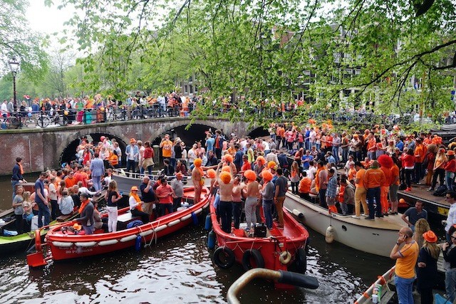 orange boats on the canals